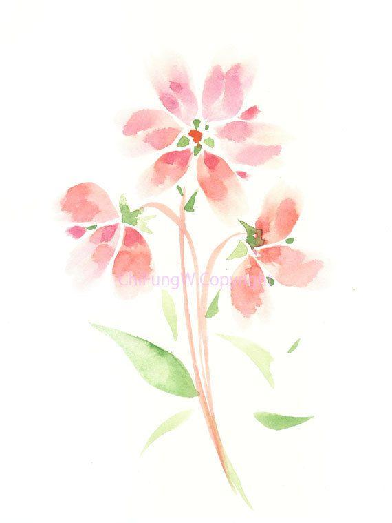 Fleur Fleur Imprimer Giclee Art Giclee Aquarelle Peinture