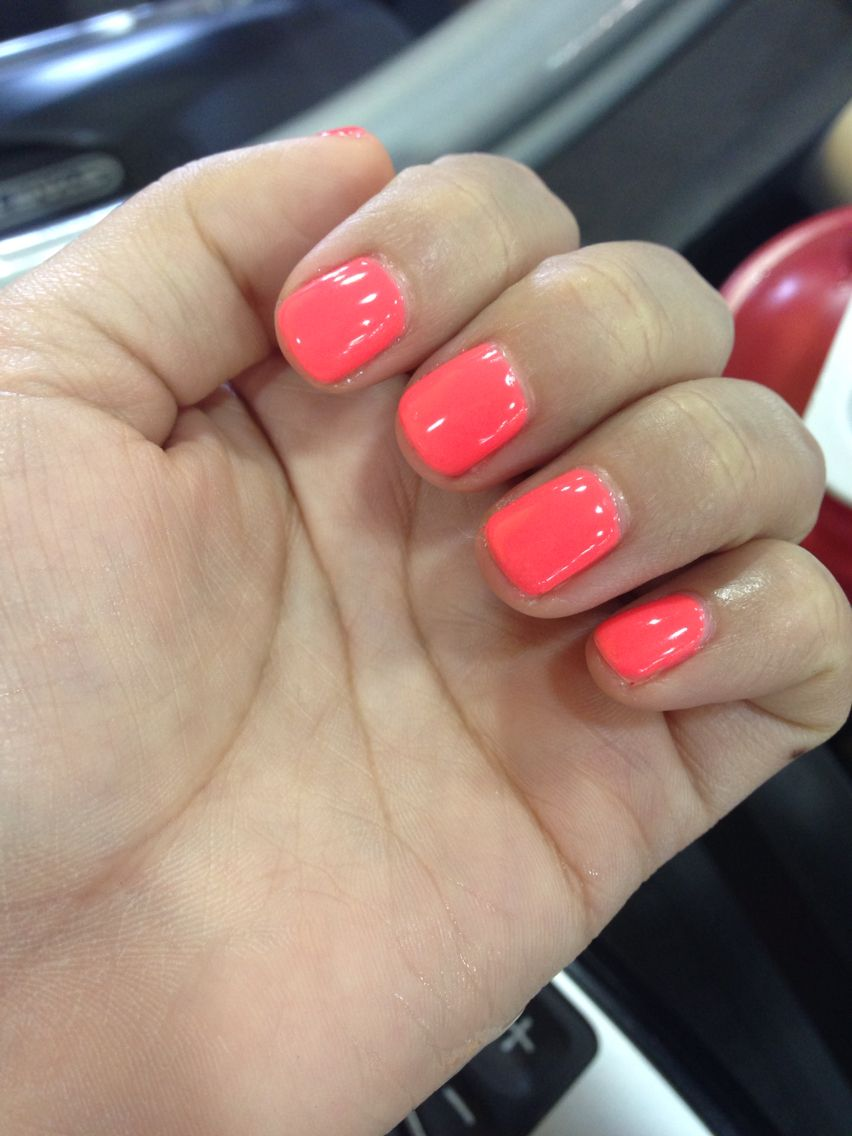 Loving My Coral Shellac Nails Great Color For The Spring