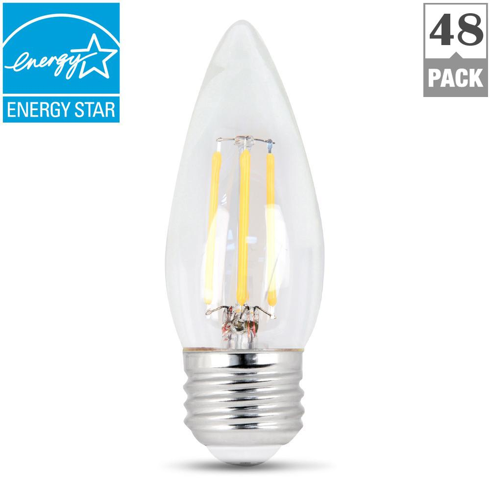 B10 E26 Feit Electric 60w Equivalent Daylight 5000k B10 Dimmable Filament Led Clear Glass Lig Light Bulb Different Light Bulbs Energy Saving Light Bulbs