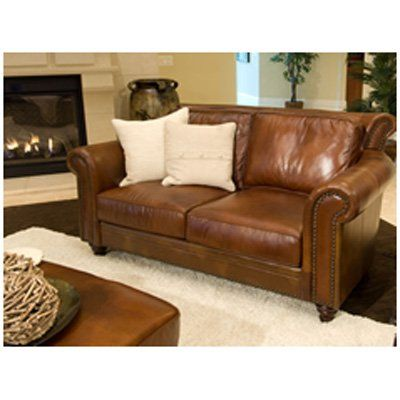 Grain Leather Loveseat In Rustic