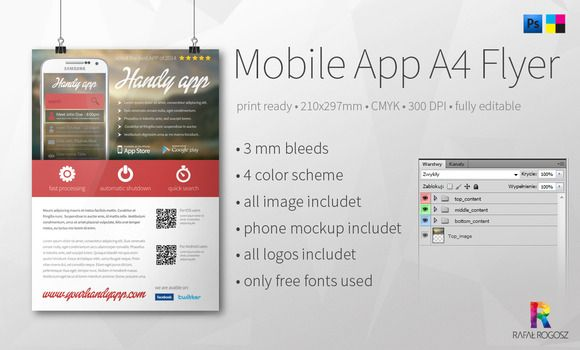 Check out Mobile App A4 Flyer by buttonpl on Creative Market - free product flyer templates