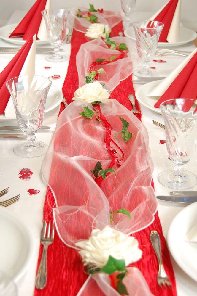 Details Zu Komplette Tischdeko In Rot Creme Fur Hochzeit Muttertag