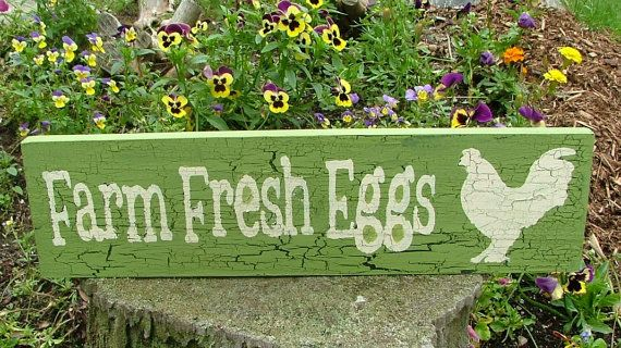 Wooden Farm Fresh Eggs Sign (Spring Green with Crackle Effect) via Etsy
