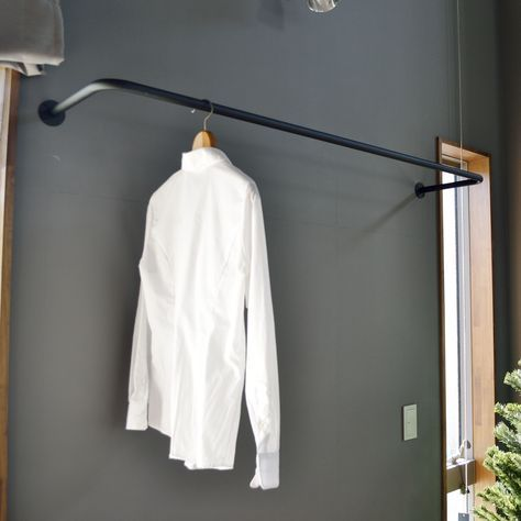 アイアン製の物干しパイプ 壁付け 天井吊 洗濯 物干し バー 物干し