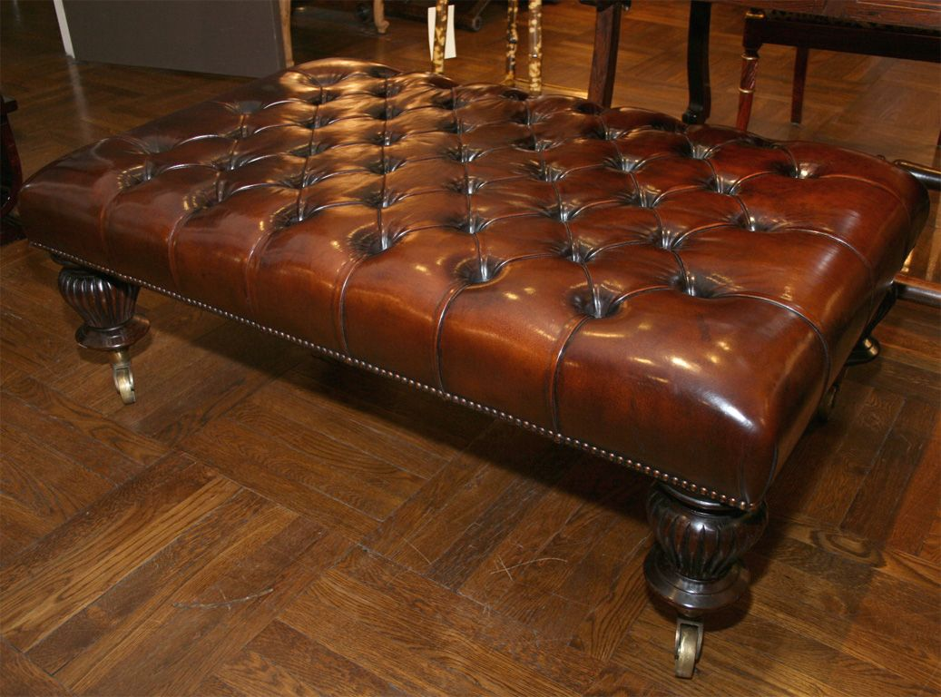 Tufted Leather Ottoman Coffee Table England