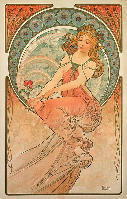 """Alfons 20/""""x40/"""" CANVAS ART Alphonse Winter 1896 Art Nouveau Mucha"""