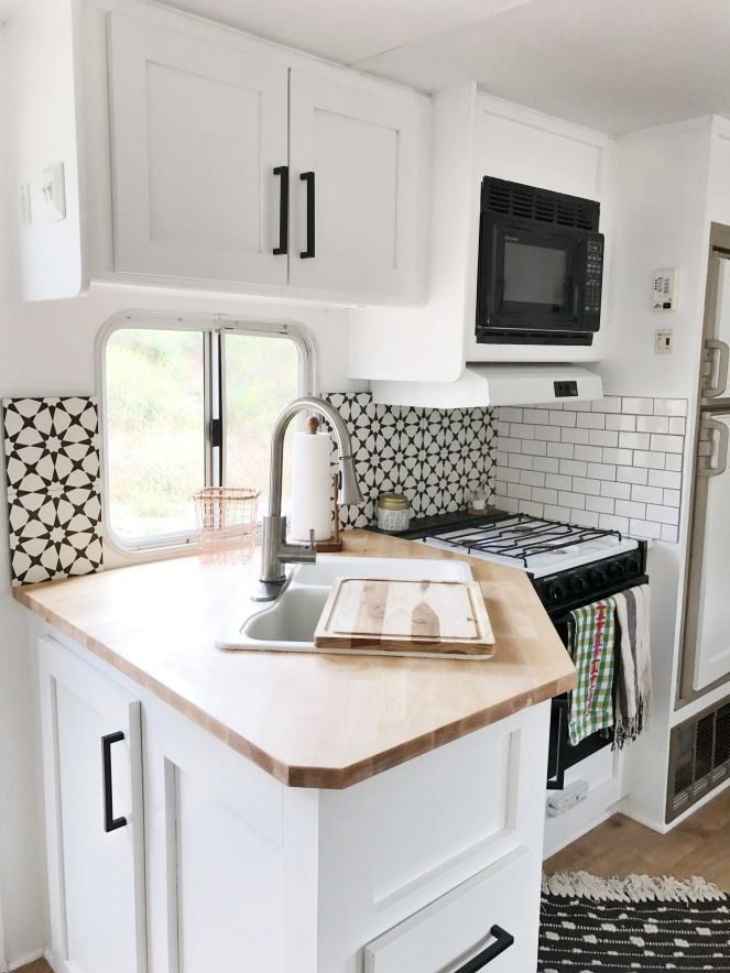 Black And White Pop Up Camper Remodel