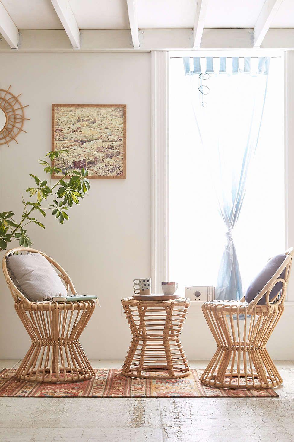 Magical Thinking Luna Rattan Chair Rattan Side Table Decor