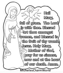 I Created My Own Hail Mary Coloring Page For Young Children To Learn Prayers In A Fun Way Color The Prayer 1 Line At Time As They Focus Solely On That