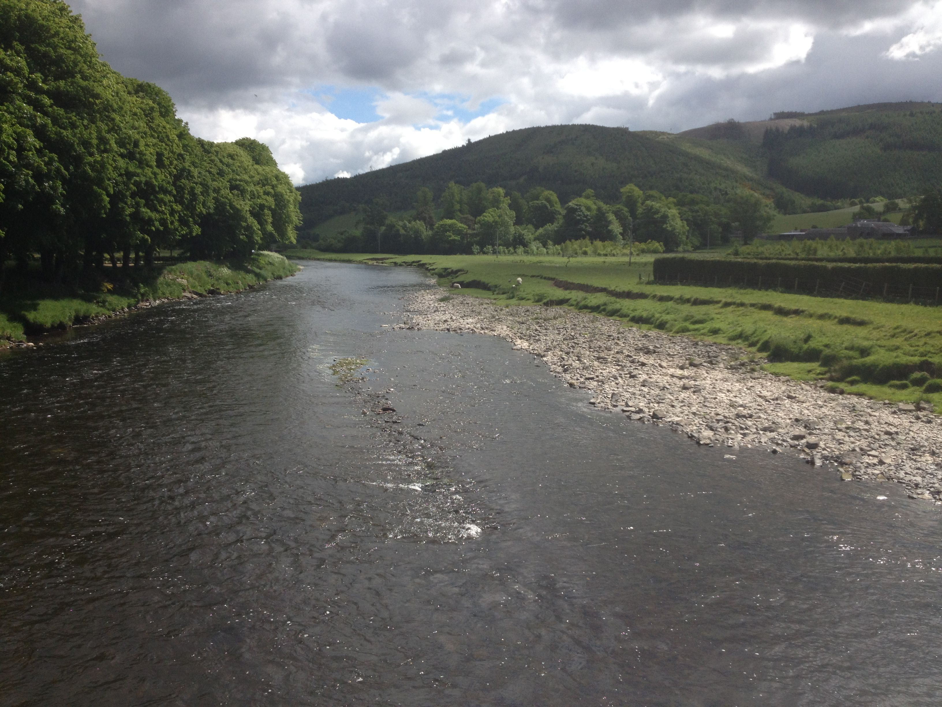 The River Tweed that runs past many mill towns in the Scottish Border country. (Author's photo)