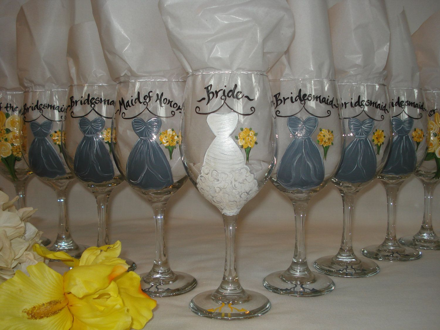 9c11250ab63 Custom Hand Painted Wine Glasses | Personalized Hand Painted Bridesmaid  Dress Wine Glasses - GIFT .