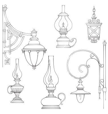 Vintage Gas Lamps Kerosene Lamps Silhouette Vector Image On Vectorstock Lantern Drawing Kerosene Lamp Lamp Tattoo