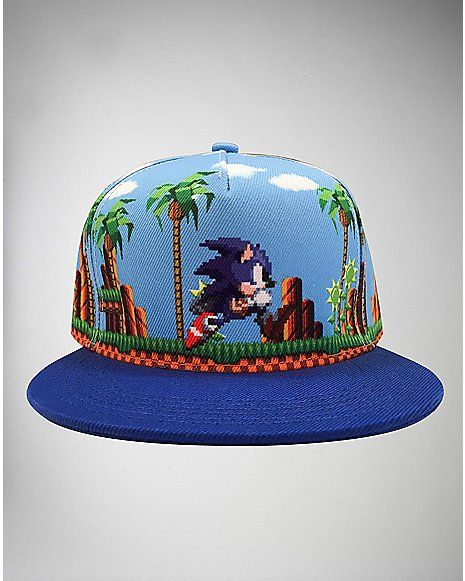 bc933f97c6f Pixilated Sonic The Hedgehog Snapback Hat - Spencer s