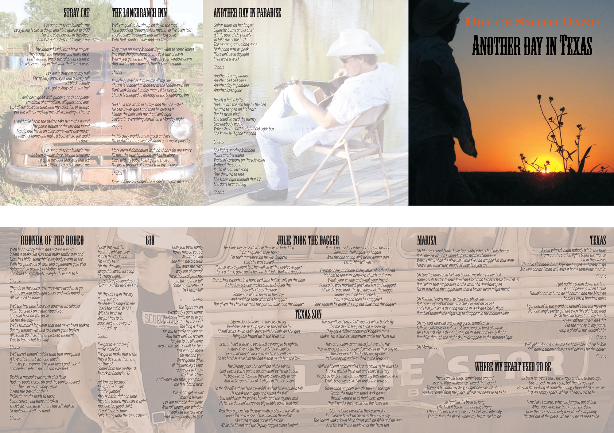 """Bruce Smith Band CD Layout """"Another day in Texas"""" front and back"""