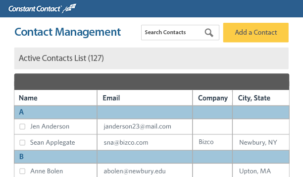company contact list template