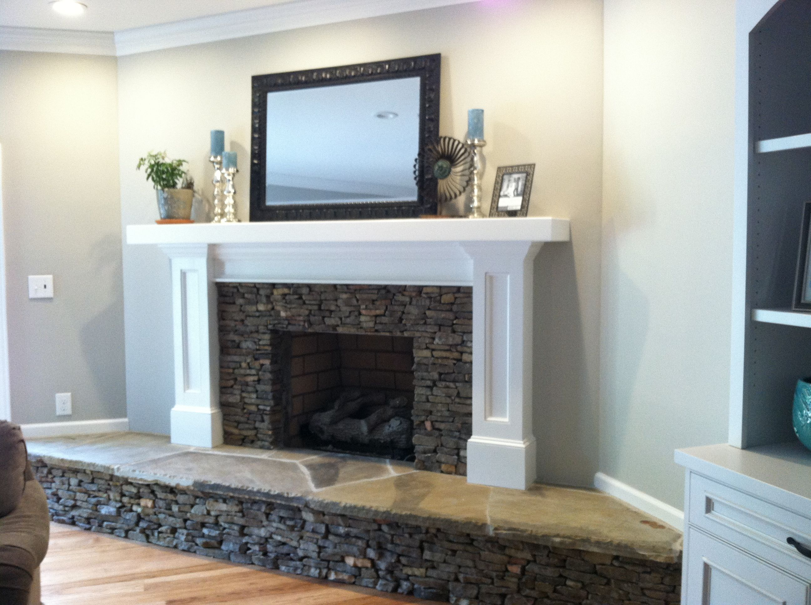 brick wall and fireplace covered with sheetrock and