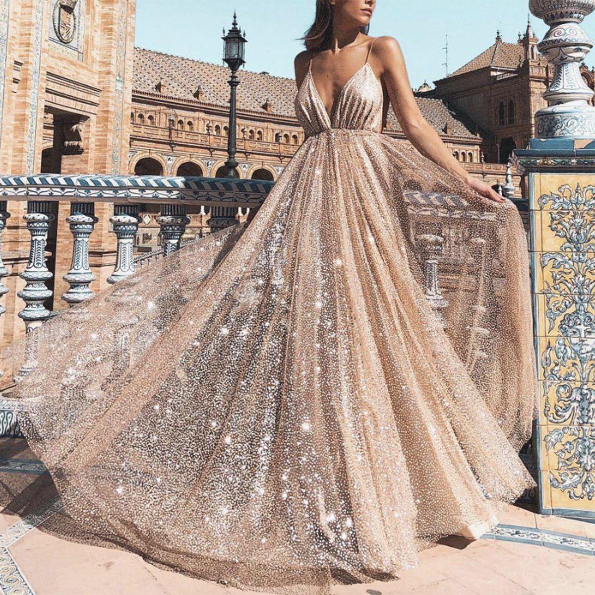 Sexy Abendkleider Pailletten Lang Günstig Abiballkleider Abendmoden Online Modellnummer:  XY298 #dresseseveryoccasion