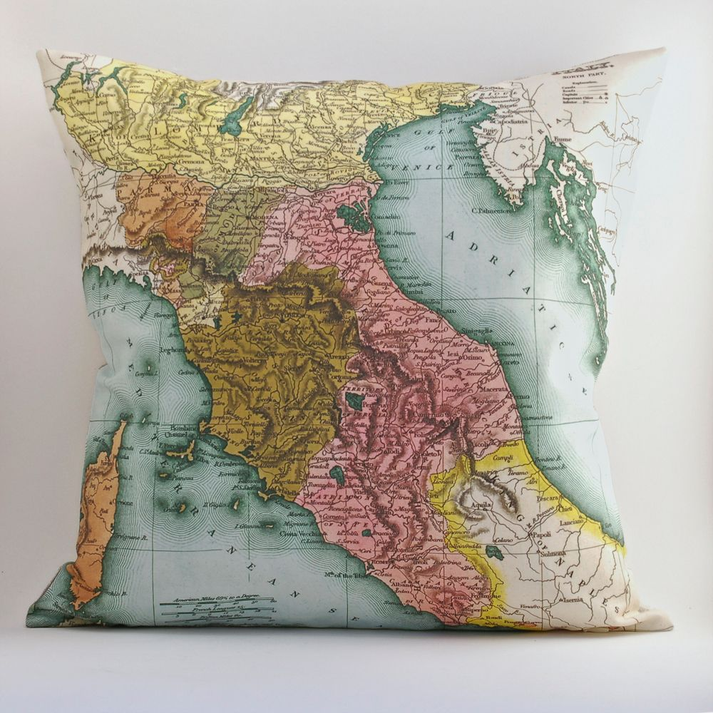 Vintage tuscany 18x18 map pillow cover uld use other map vintage tuscany italy map pillow diy kit made to order envelope style madeline for christmas gumiabroncs Image collections