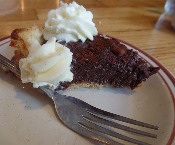 No ordinary chocolate cream pie can quite hold its own against the Ladybird Diner's Mexican chocolate pie. It's made with Belgian chocolate -- and cayenne. #Lawrence Kansas