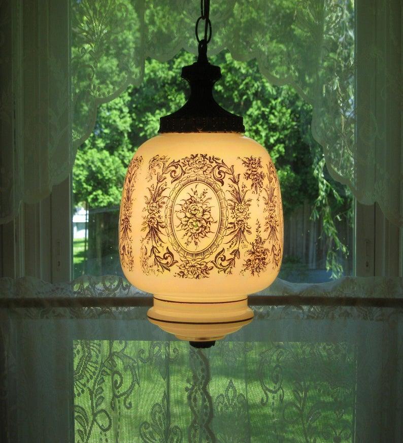 Vintage Lusterware Swag Lamp Luster Swag Lamp Hollywood
