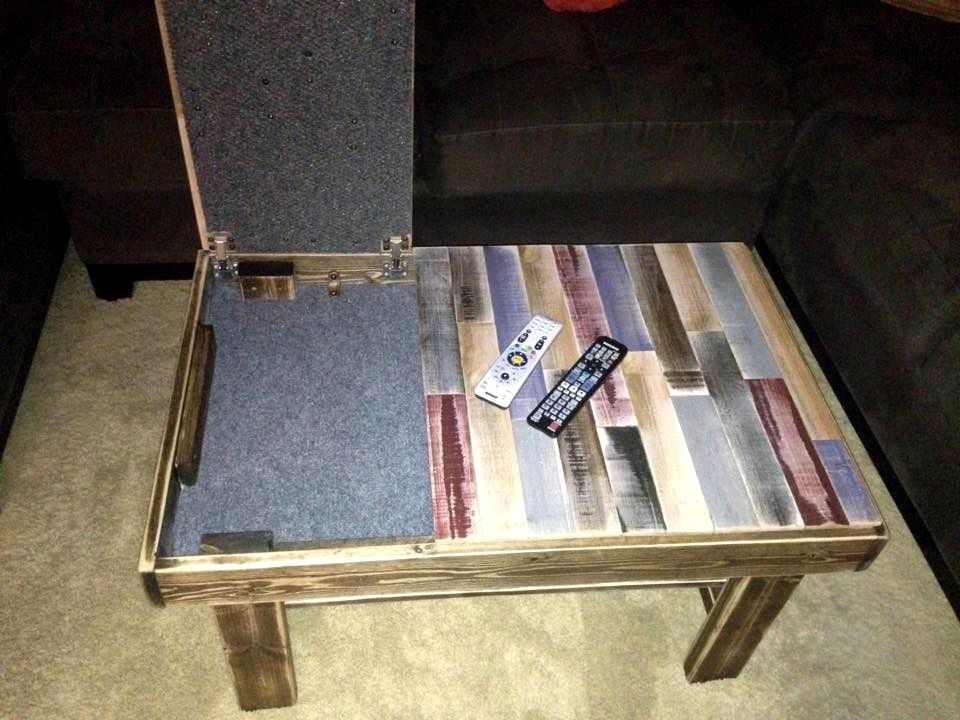 Good Pallet Coffee Table With Secret Stash   Inspired Wood Pallet Projects