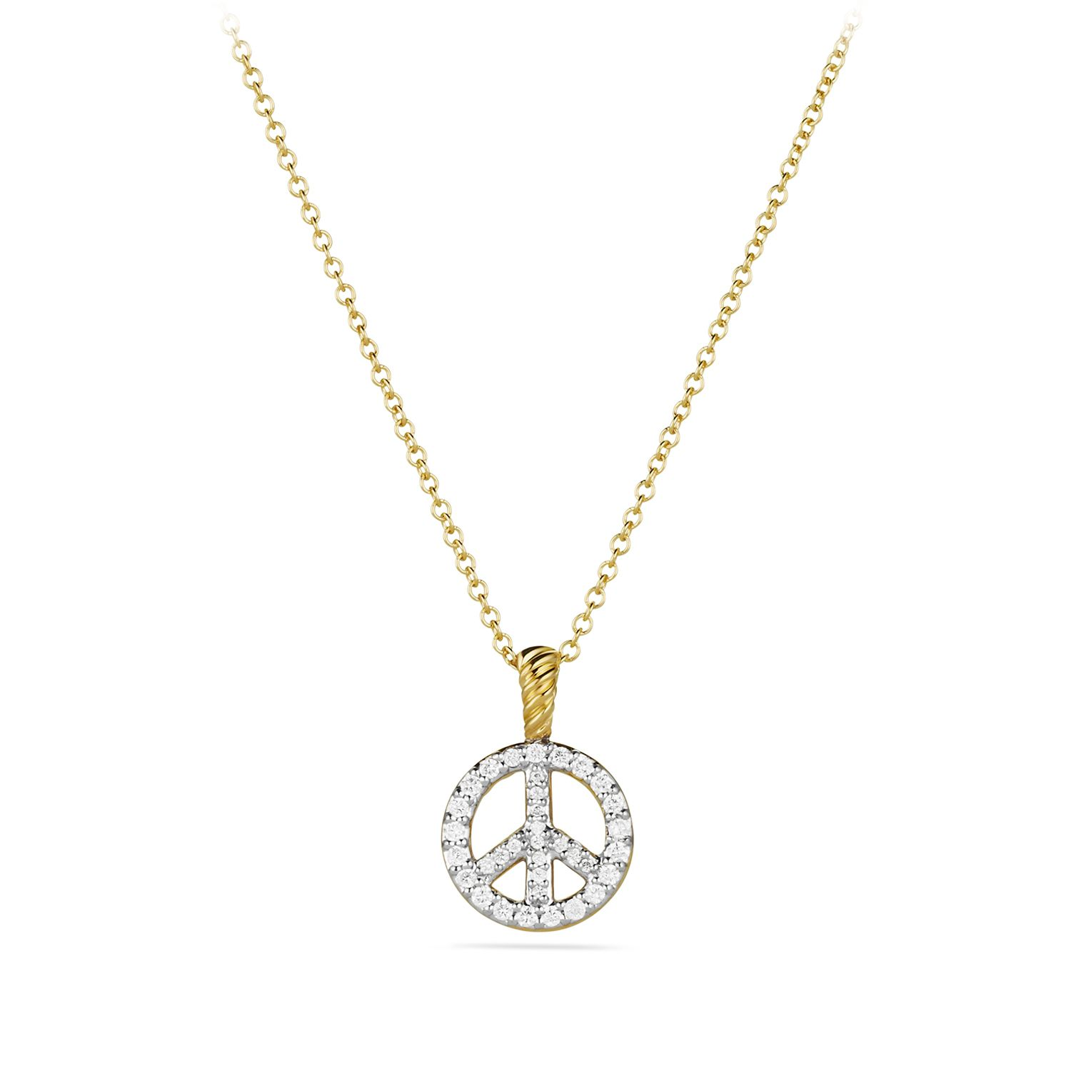 Cable collectibles peace sign pendant with diamonds in gold on chain cable collectibles peace sign pendant with diamonds in gold on chain mozeypictures Image collections