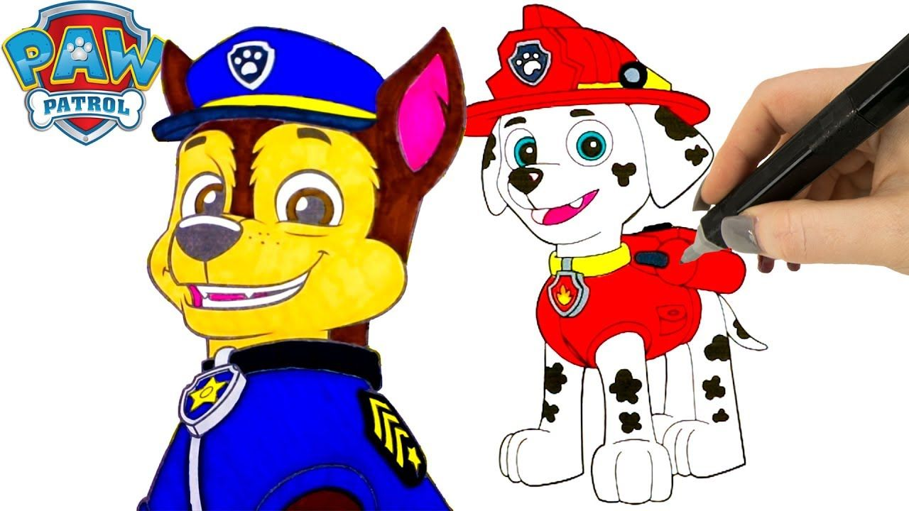 New paw patrol coloring pages with marshall and chaseour nd paw