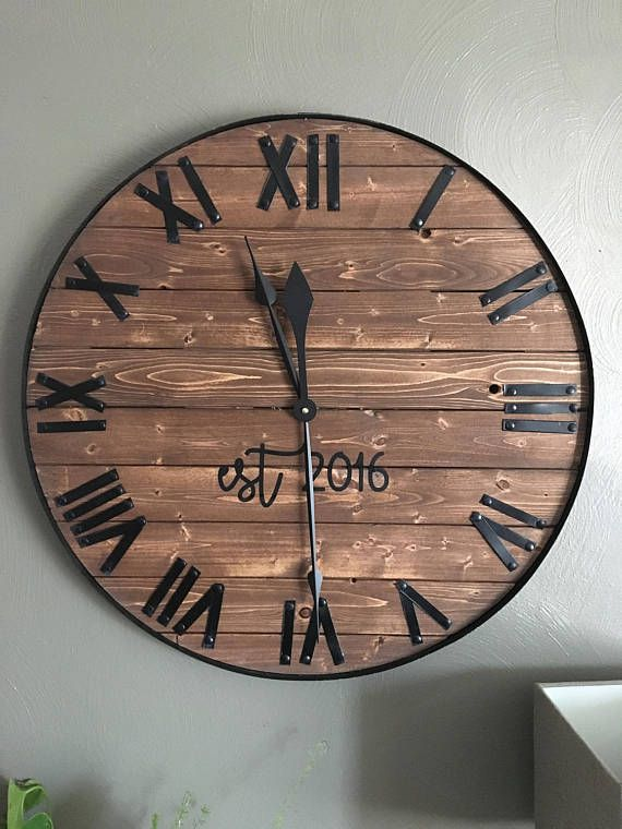 24 Large Farmhouse Wooden Wall Clock Modern Farmhouse Style Rustic Oversized Wood Wall Decor Last Name Established Gift For Home Or Office Diy Clock Wall Rustic Wall Clocks Rustic Wood Clocks