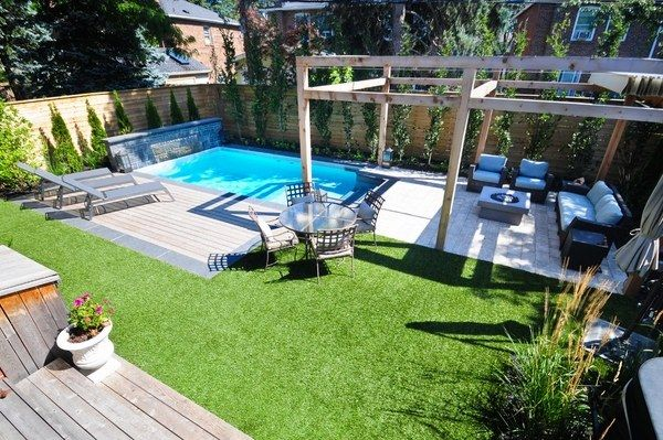 Unique Small Backyard Pools Ideas Rectangular Pool Arbour Lounge Furniture