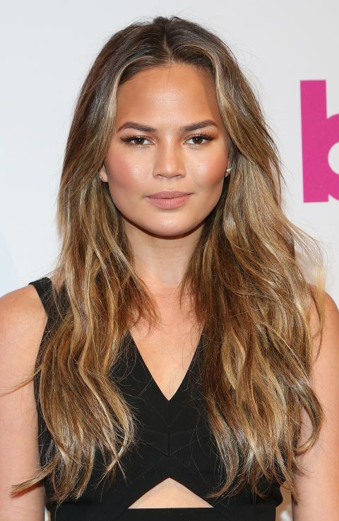 25 Celebrity Brunettes To Inspire Your Next Dye Job Chrissy Teigen Hair Hair Styles Hair