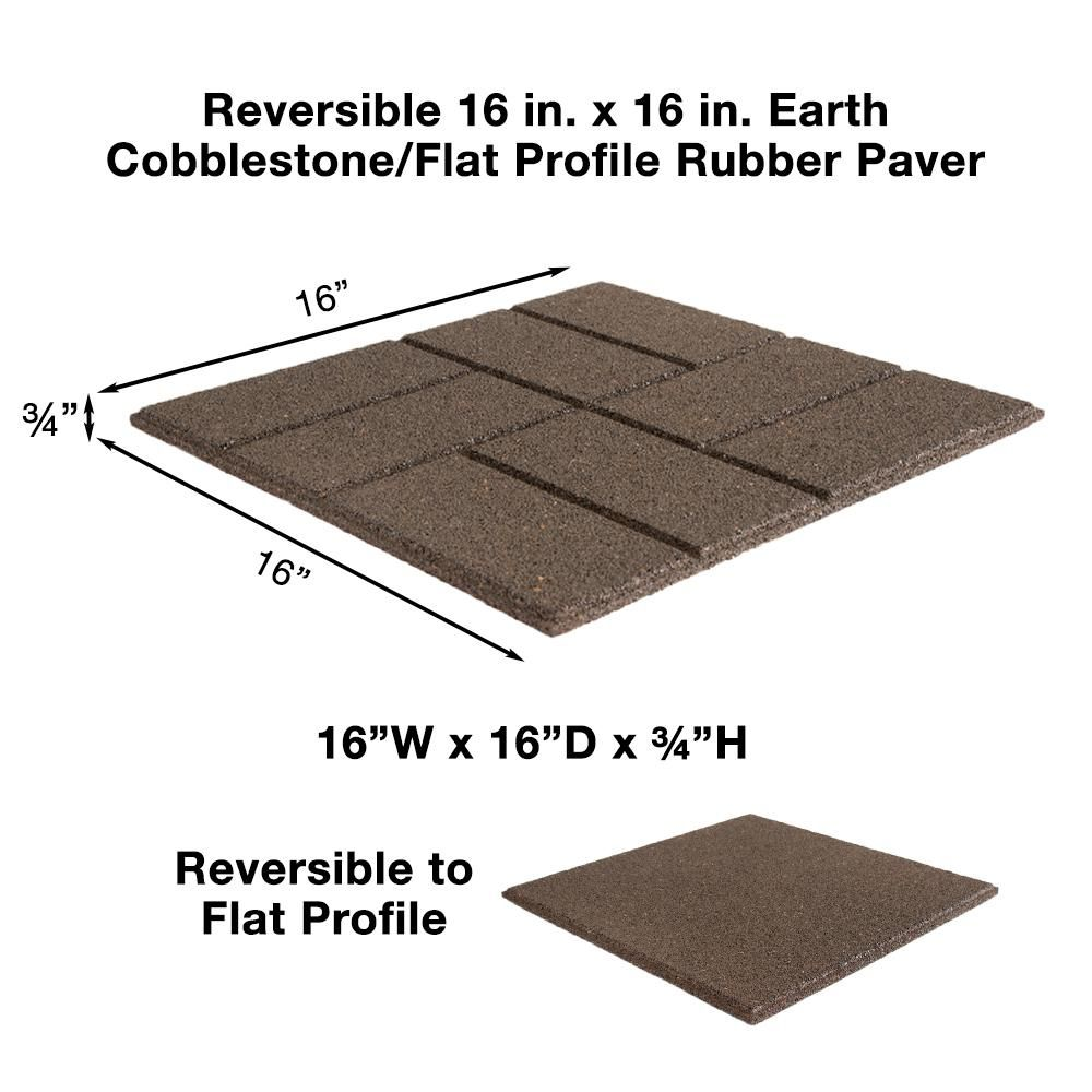 Envirotile Reversible 16 In X 16 In X 0 75 In Earth Brick Face Flat Profile Rubber Paver Mt5001607cm The Home Depot Rubber Paver Brick Face Paver