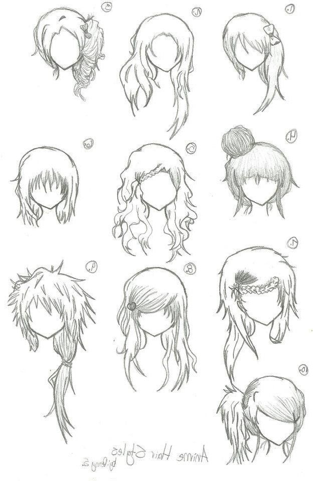 Many Different Hair Style Sketches Narisovat Volosy Risovanie Volos Risovat