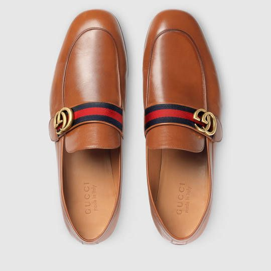 56faa9a9b71 Gucci Men - Leather loafer with GG Web - 428609D3VN02562