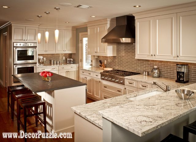 Fantasy Of River White Granite Countertops Traditional Kitchen, White  Granite Worktops
