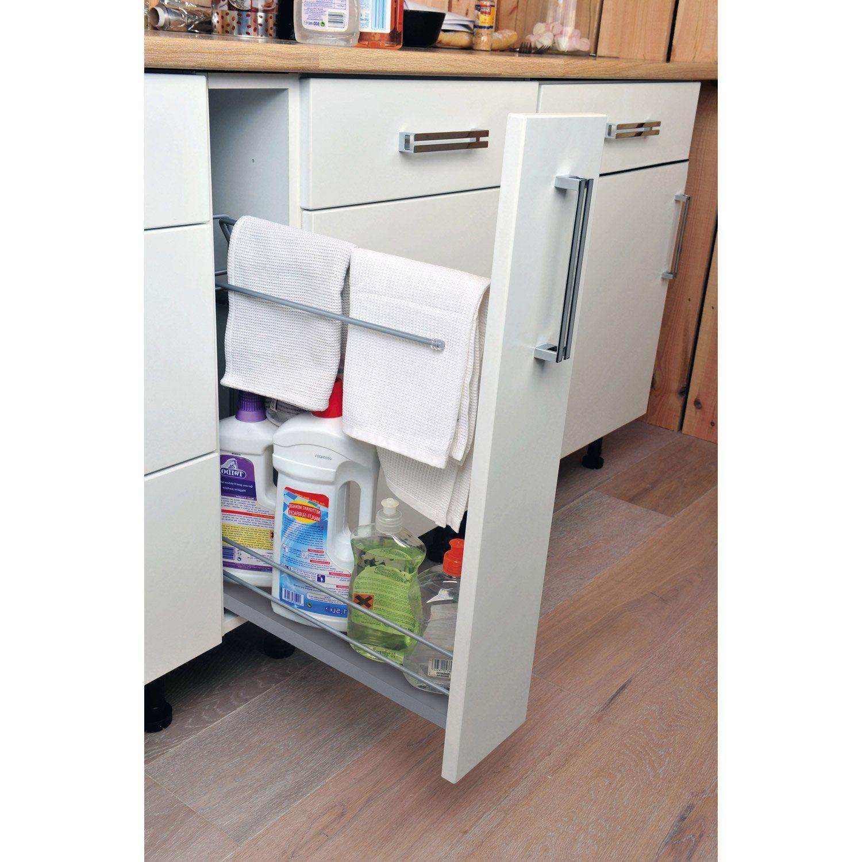 Rangement Coulissant Torchons Et Bouteilles Pour Meuble L 15 Cm Delinia Small Kitchen Storage Kitchen Renovation Kitchen Storage