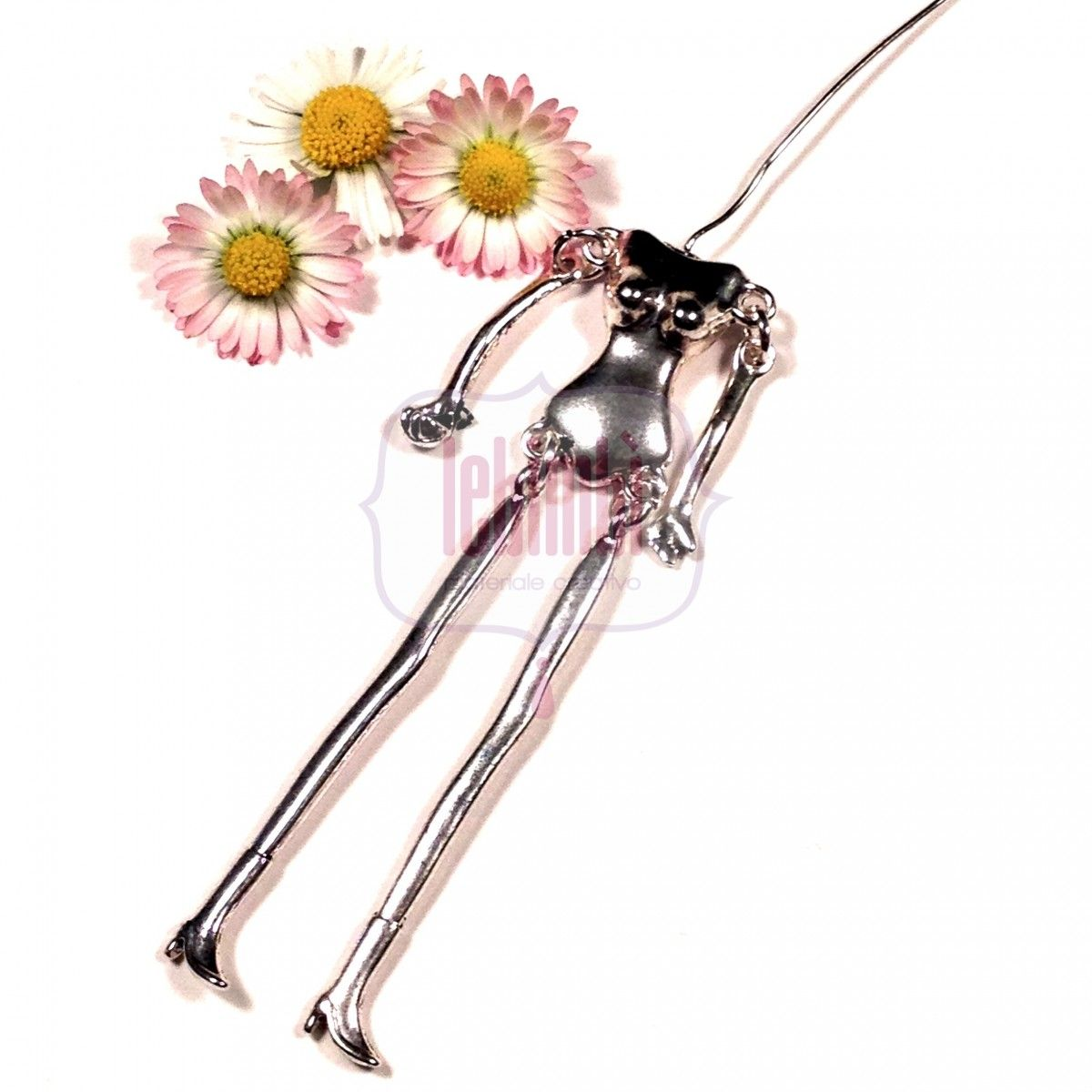 Base corpo in metallo, Argento antico, 115x18mm NICKEL FREE -1pc