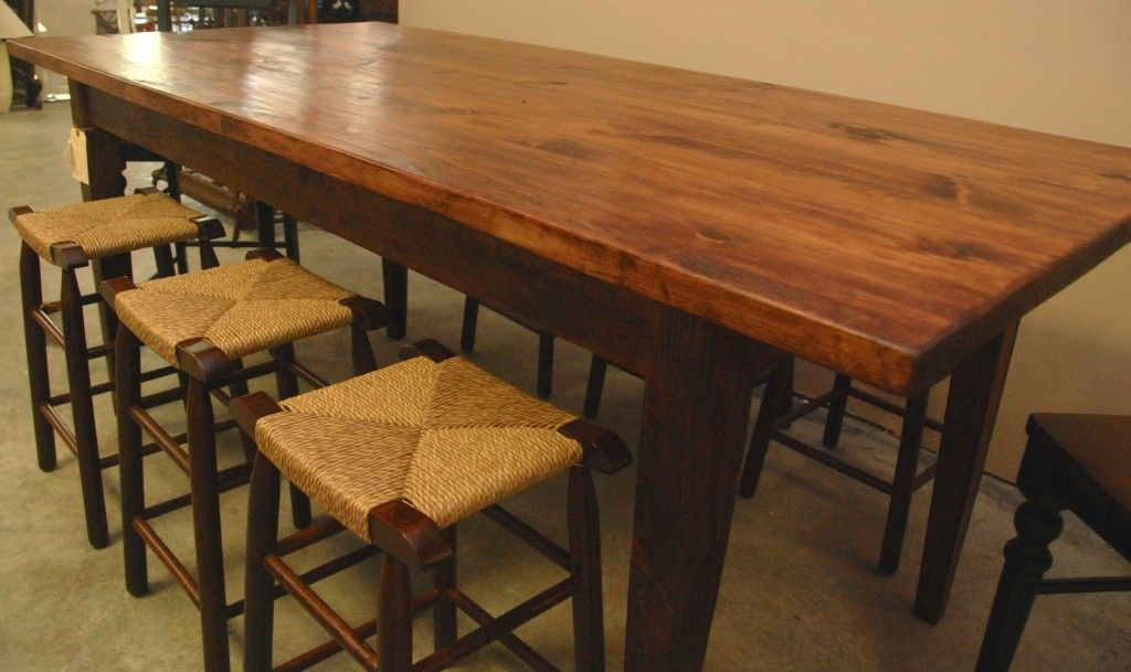 36 Inch High Handcrafted Farm Table By Vernon Carter And