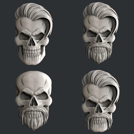 3d STL models for CNC set 4 models skulls in 2019