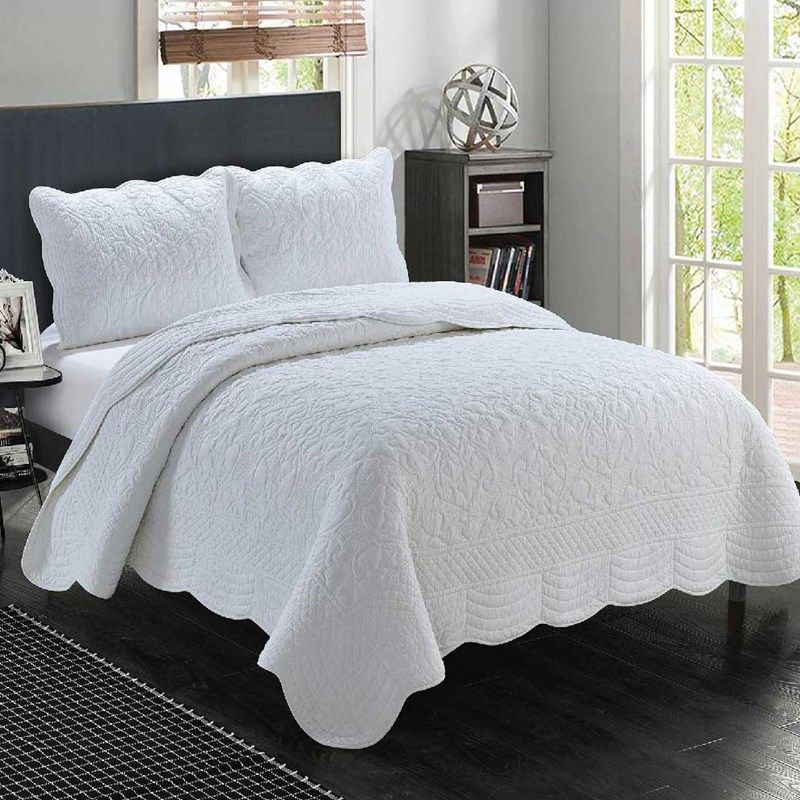 Marcey Whole Cloth White Quilt Queen White Quilt Cracker