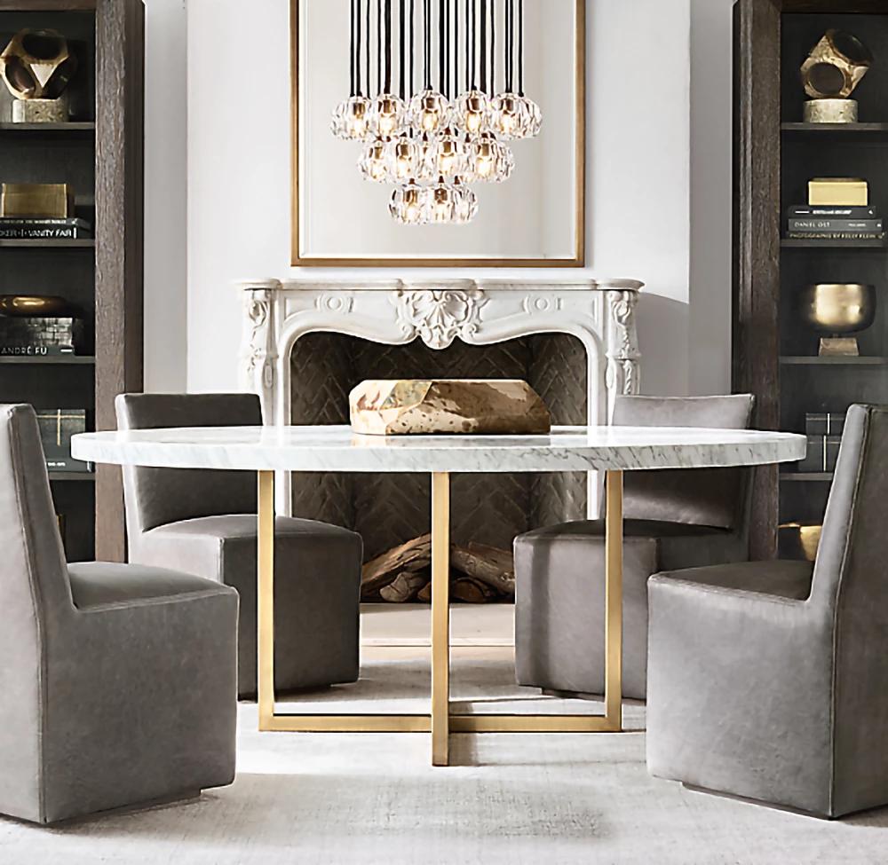 Boule De Cristal Round Cluster Chandelier Mooielight Round Marble Dining Table Dining Table Marble Dining Room Table Marble