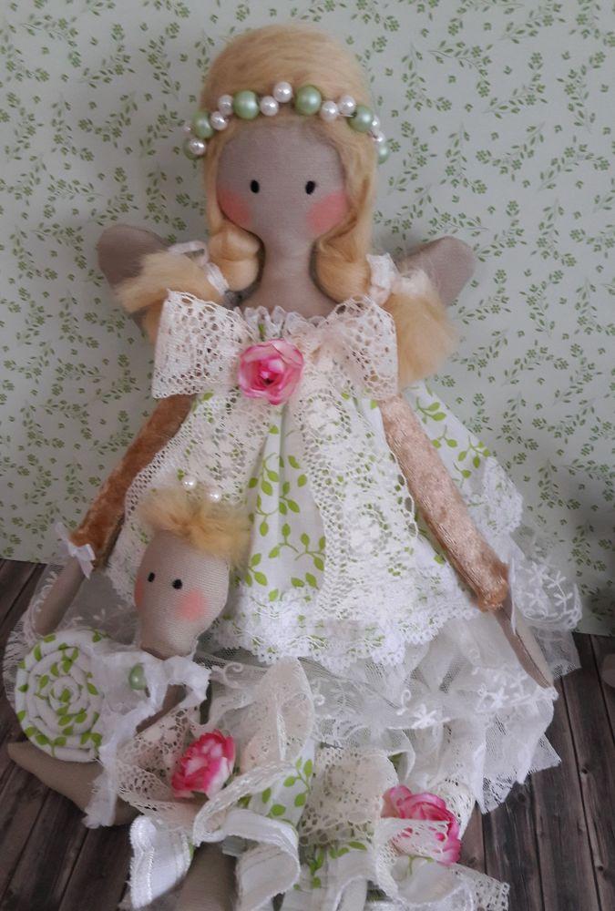 Engel Puppe mit Schnecke Tilda Stoff Deko Shabby Vintage Handmade ...