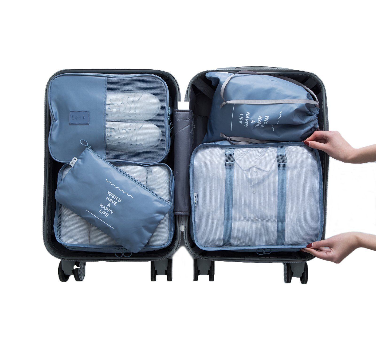 1cd5529a5510 5Pcs Packing Cubes Set Travel Luggage Organizers with Shoes Bag 5Pcs Grey  -- You could locate even more details by seeing the photo web link.