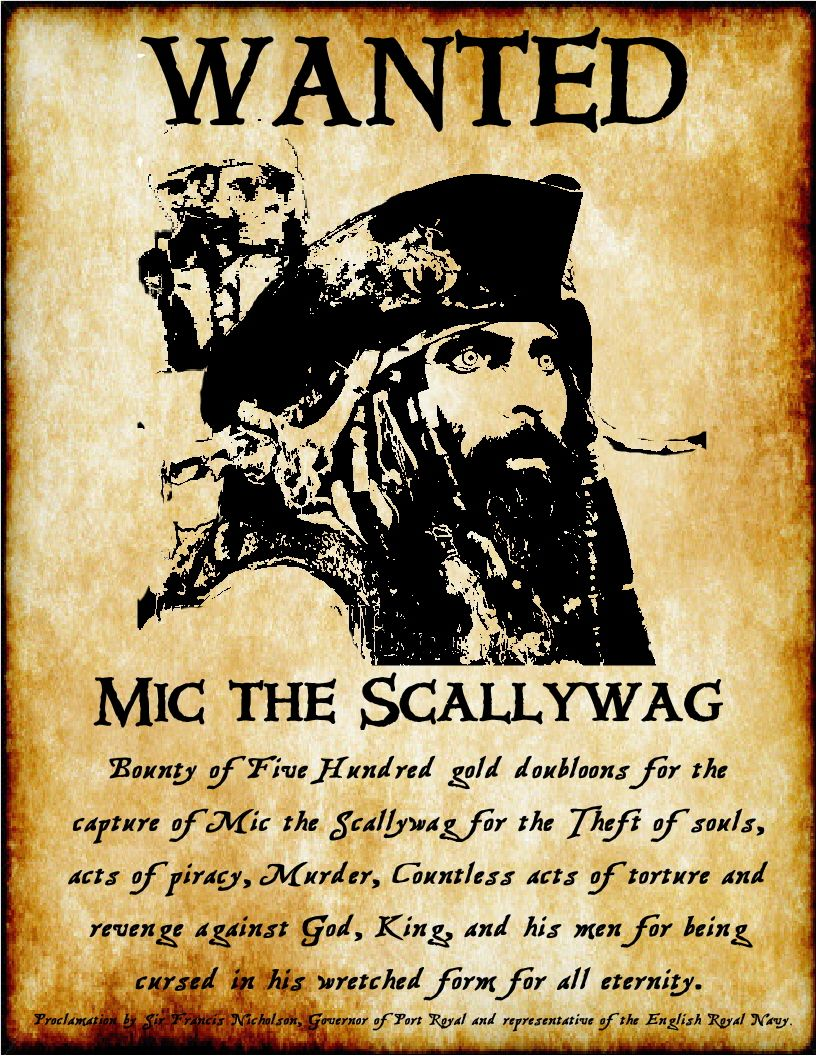 Wanted poster Mic the Scallywag – Wanted Poster Examples