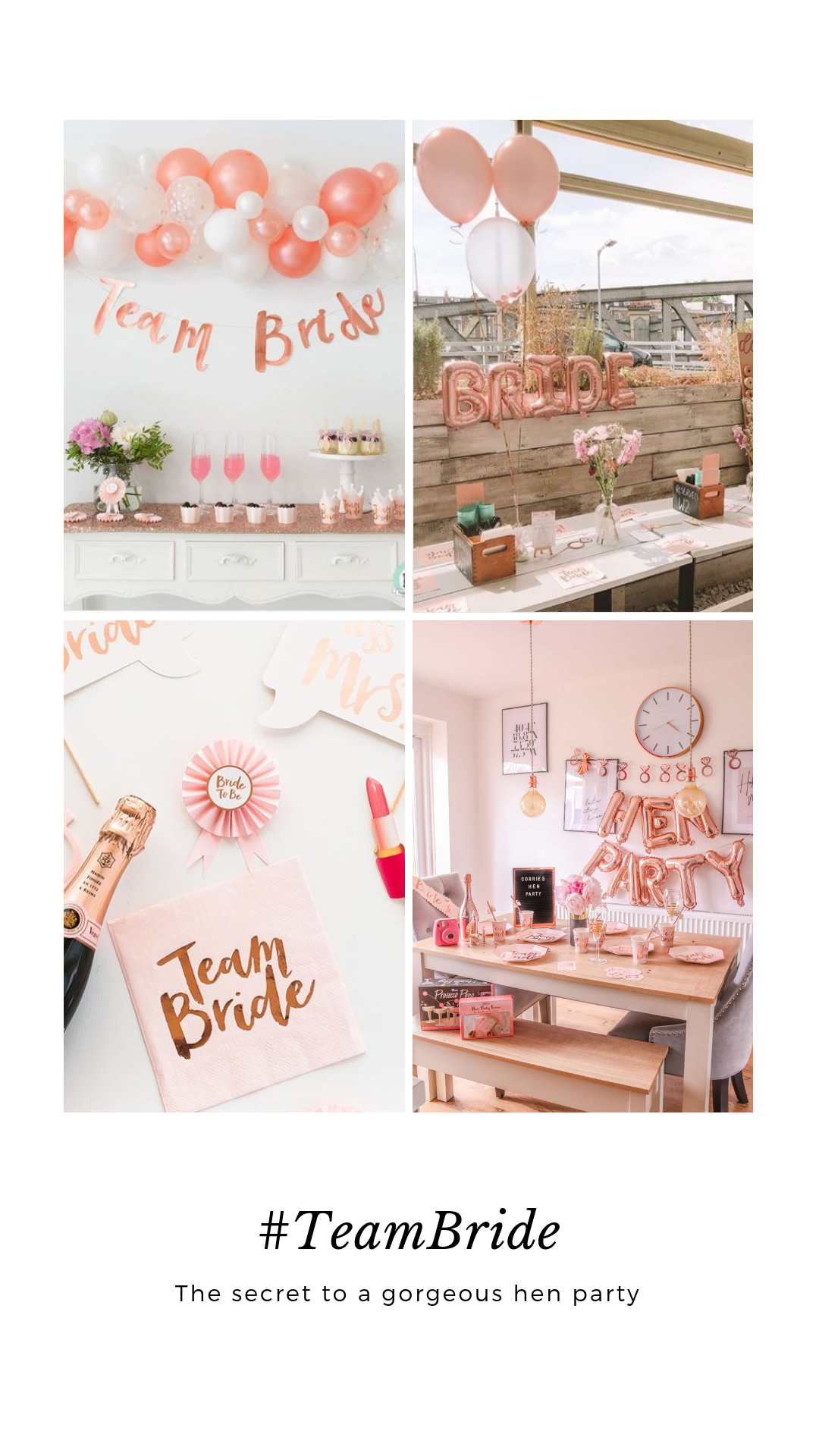 Team Bride To Be Hen Party Accessories Floral Pink /& Rose Gold Party Decorations