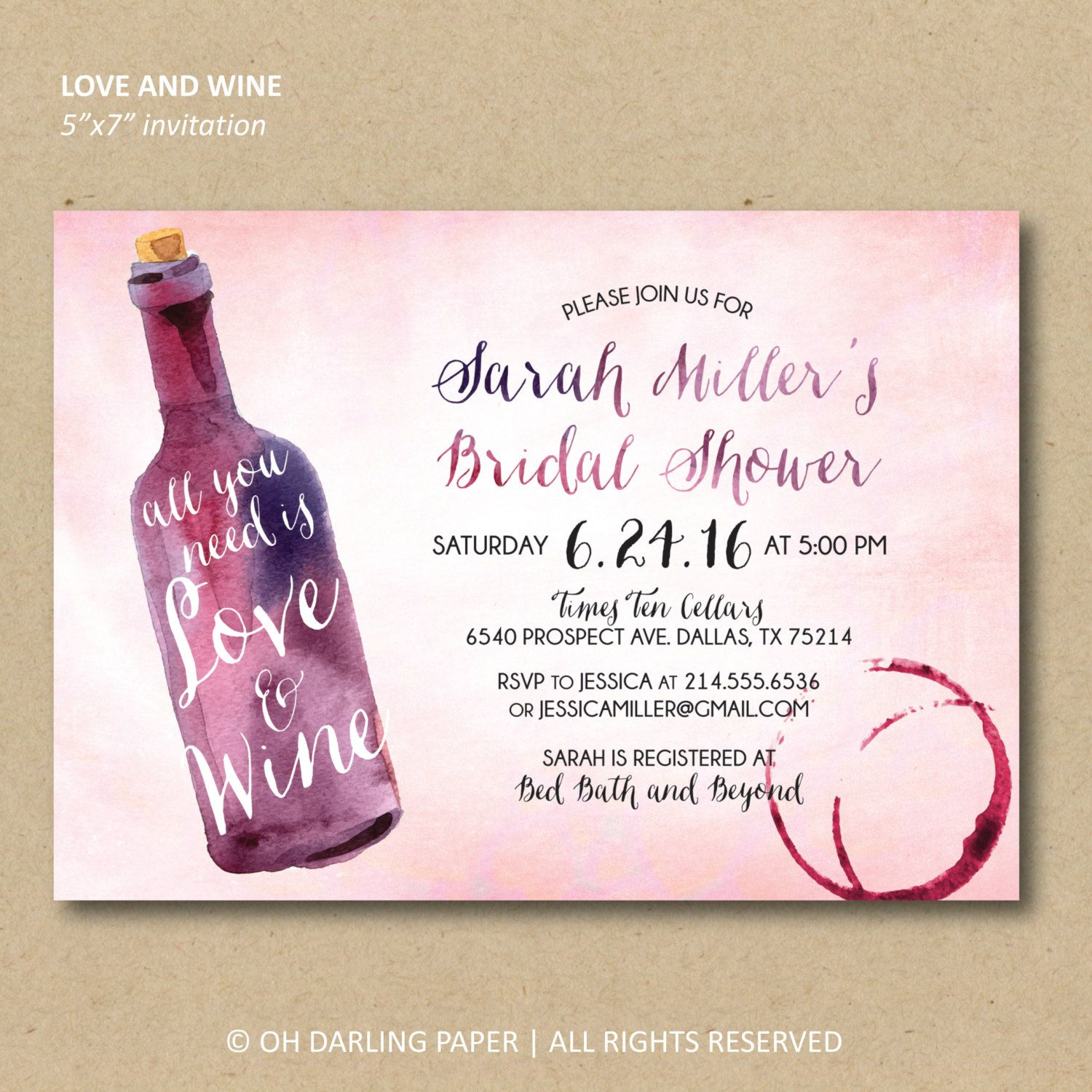 Printable Bridal Shower Invitation. Wine shower by OhDarlingPaper ...