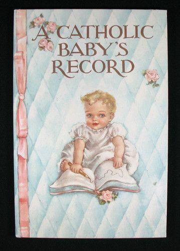 Vintage 1945 A Catholic Baby S Record Book Album Unused Baby Boy