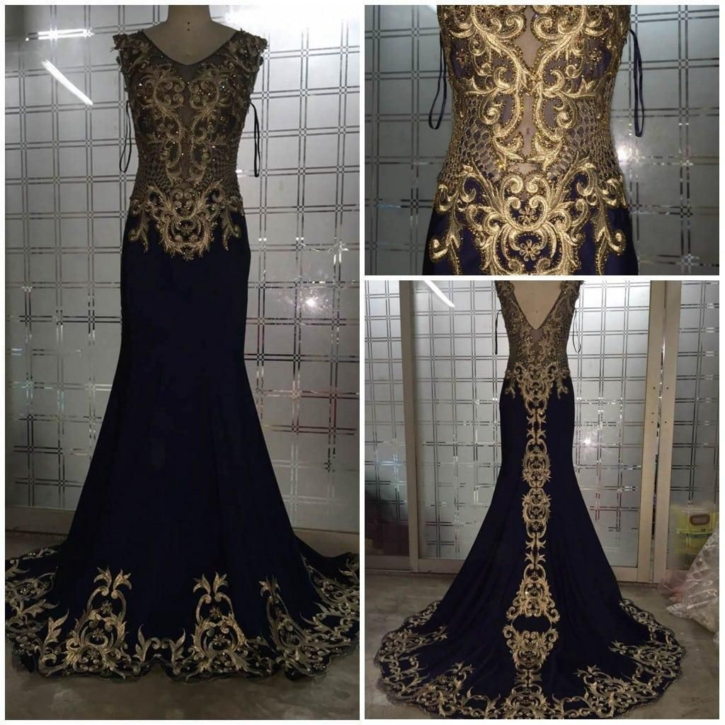 Elegant Embroidery Embellishment Ball Gown Traditional: Black Evening Dresses With Gold Embroidery Embellishments