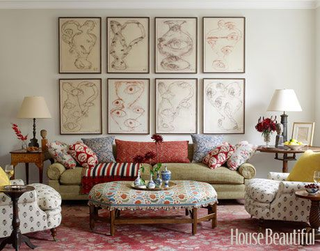Designer Daniel Sachs used antiques and a mix of ikat, floral, and striped patterns in this high-bohemian living room.