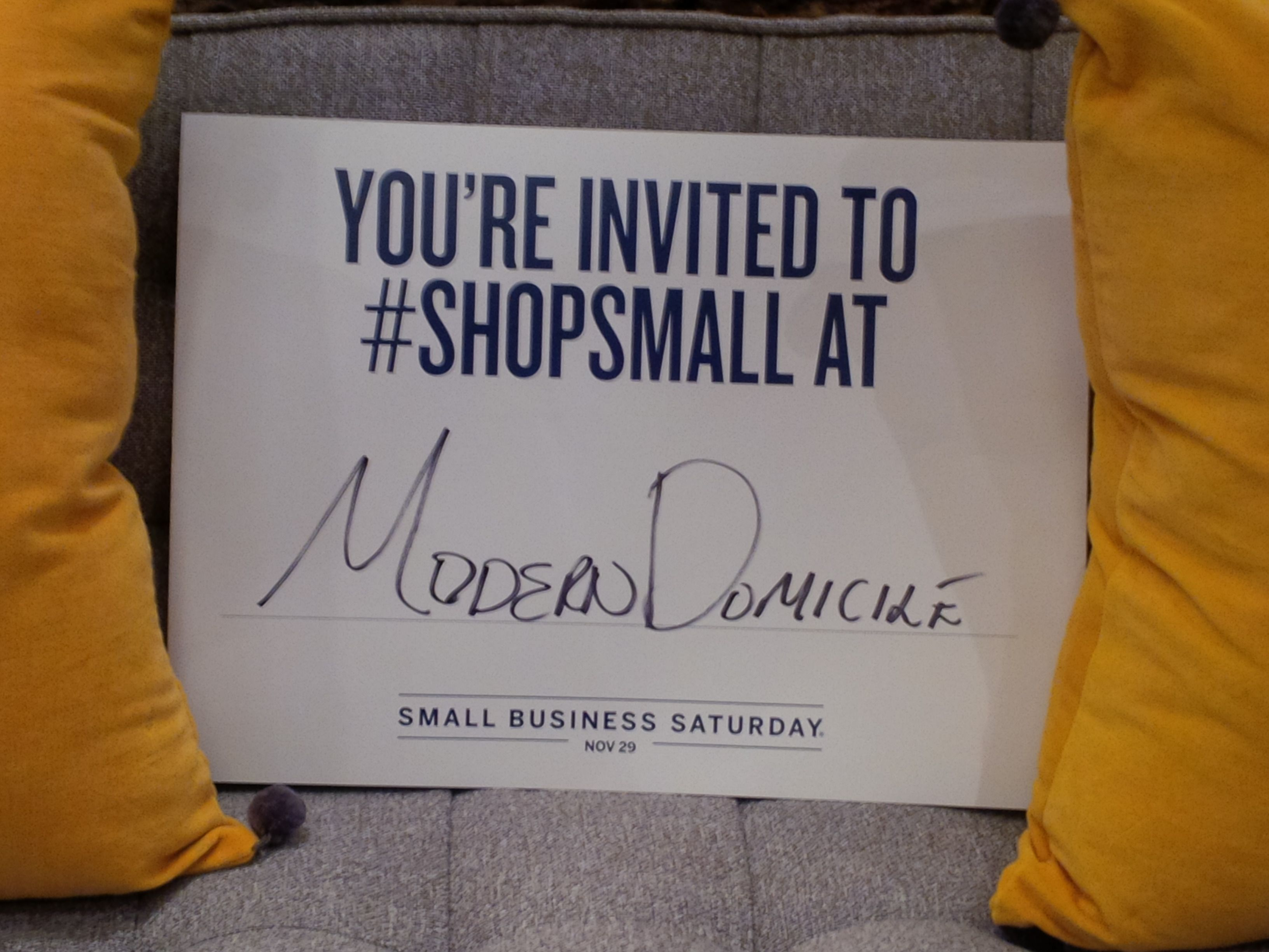 ModernDomicile is participating in Small Business Saturday once again, join us on November 29th for special offers, incentives, and a local business celebration!