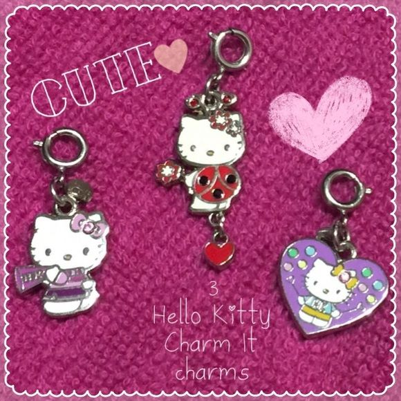 Charm It Hello Kitty Collection BUNDLE: Up for sale are Charm It! (High Intencity) absolutely gorgeous enamel charms. Two are like brand new. The purple heart one is missing one crystal on one side of the dual sided charm. Other side is intact. Other than that zero flaws!!!!! If you want just one: $7.00 each. Hello Kitty Jewelry